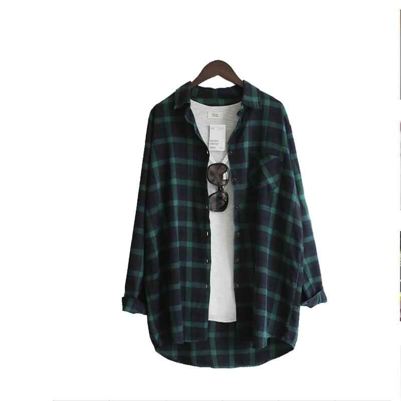 a715ecccba Women Long Sleeve Plaid Shirt Blouse Autumn Fashion Plus Size Loose Pockets Long  Blouses Women Tops