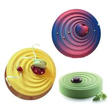 Round Corrugated Ripple Shaped Cake Pan White Cake Molds Silicone Baking Cupcake Decoration Tool(China)