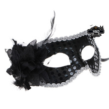 Black Red Sequins Venetian Masquerade Ball Masks Flower Princess for a Masked Fancy Dress Halloween Party Costume Lace Eye Masks