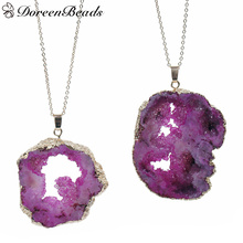 DoreenBeads Created Quartz Crystal Druzy Necklace Link Cable Chain Gold color Irregular Fuchsia Pendant 55cm -47cm long,1 PC