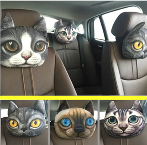 1 piece 3D printed cat car styling pillow,neck support,cats cool decorations,cute lovely gift to girl boy friend vivid funny<br><br>Aliexpress
