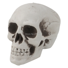 Mini Plastic Human Skull Decor Prop Skeleton Head Halloween Coffee Bars Ornament H06(China)