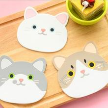 2017 cute silicone cat placemat coffee cup bar mug Insulation mat pads dining table coaster placemats mats Kitchen coasters