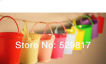 Free Shipping 20pcs/LOT wedding favor box Colorful beach pail which made of PP plastic,Lovely Colored Candy Bucket, Hard Plastic