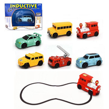 Magic Truck Toys For Children With Pen And Cell Draw Line Induction Rail truck Plastic Engineering Vehicles Inductive Truck Toy(China)