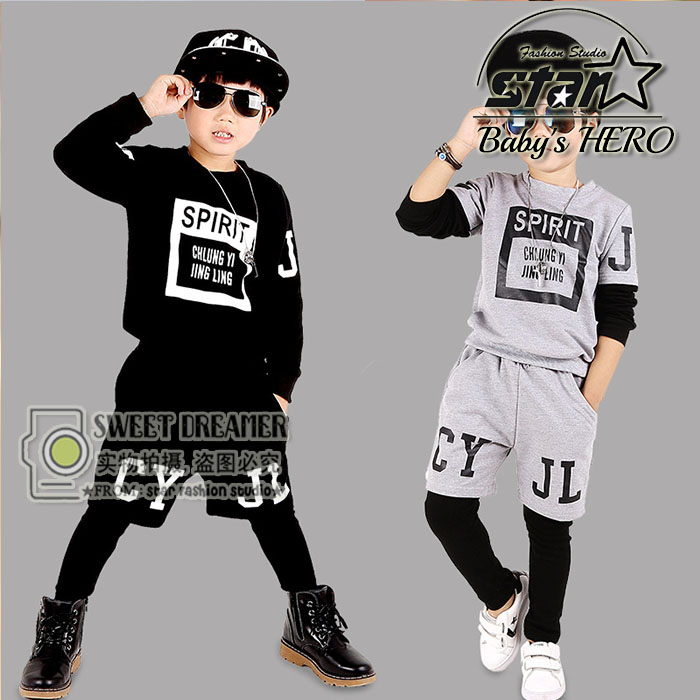 Kids Tracksuit Boys Clothing Hiphop Childrens Sports Suits Fashion Children Clothing Suit for Boys Teenage Girls Clothing <br>