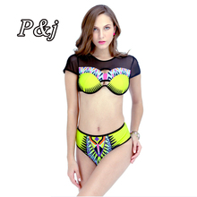 P&j 2017 South African Print sexy Hollow Out Bikini Set Sexy 3 String Thong Black Metallic Leatherette Swimwear cut out swimsuit