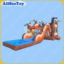 Inflatable Pirate Bouncy Castle with Slide,Used Commercial Bounce House with Water Pool(China)