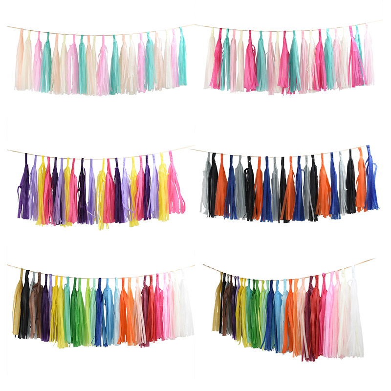 3pack*5pcs 12*35cm Tissue Paper Tassels DIY Garland Craft for Wedding Decoration Birthday Party Baby Shower Event Party Supplies
