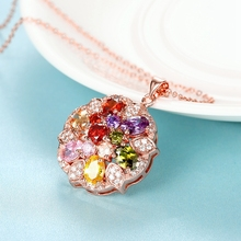 Super Deals Colorful Zircon Gem Stone Pendant Necklace Gold Plated Flower Round Pendant Necklaces Women's Christmas Accessory