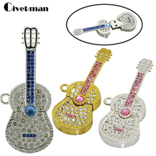 Pendrive USB Flash Drive Crystal Guitar Violin Necklace 4GB 8GB 16GB 32GB 64GB 128GB USB Memory Jewelry USB Flash Memory Gift(China)