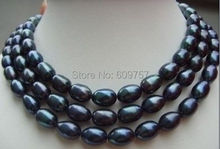 49'' HUGE surprising AAA south sea black baroque pearl Freshwater Cultured Pearls Pearl necklace  hook Free deliver