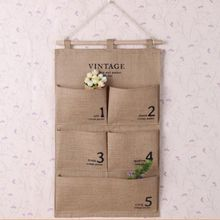 Practical Organizer Jute Naturally Letters Wall Hanging Storage Bags Sundries Cosmetic 5 Pockets Storage Bag(China)