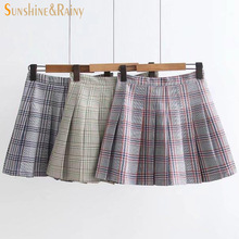 Buy 2017 summer autumn fashion female plaid Pleated skirts retro waist girls skirts hot skirt candy plaid color england MINI skirts for $13.76 in AliExpress store