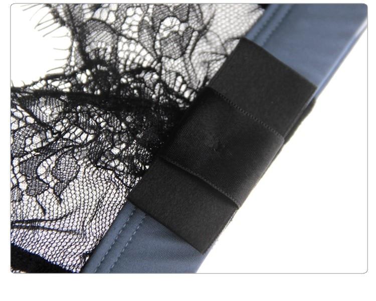 Munllure Ultra-thin sexy lace bra set eyelash lace transparent thin wireless triangle bra and pantiles set women underwear set 5