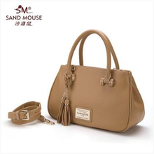 SAND MOUSE Women Leather Handags Shoulder Bag Lady Soft Small Tassel Bag Top Layer Genuine Leather Women's Pouch Makeup Bags