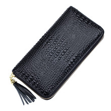 Fashion Leather Cowhide Crocodile Wallets Strap For Women Day Clutches Coin Purse Tassel Long Style Wallet Ladies Famous QB214
