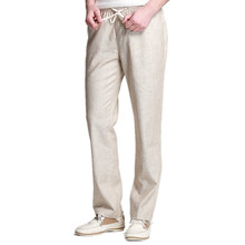 Linen Pants Men 2017 Summer Casual Lightweight Drawstring Loose Joggers Brand Chinese Cotton Male Linen Trouser Beige Light Grey(China)