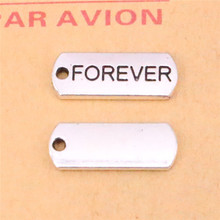 12pcs forever Charms Fashion Pendants Bracelet Necklace Accessories Jewelry Making Handmade,Tibetan Silver Plated 21*8mm(China)