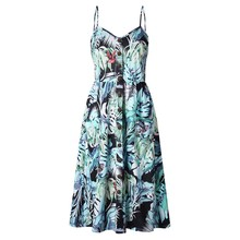 Buy Modstreets 2018 Button Print Floral Sexy Casual Summer Strap Dress Long Boho Bohemian Beach pockets women dress Vintage Dress for $5.22 in AliExpress store