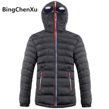 Bingchenxu Winter Men's Down Jacket With Glasses Hood Hat Windbreaker Slim Men Coat Casual Mens Windproof Down Jackets 4XL 481