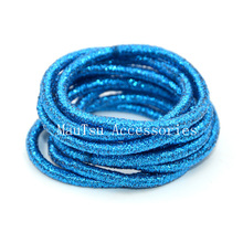 50PCS 4mm Sky-Blue glitter elastic hair bands ponytail holders with gluing connection,bling bling elastic hair ties(China)