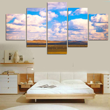 (No Frame) 5 Piece Grassland Scenery Modern Home Decor Canvas Wall Picture Art HD Print Painting On Canvas For Wedding Decor Hot