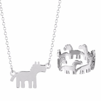 Kinitial 2pcs Enamel Horse Gold Silver Jewelry Sets For Women Animal Horse Rudolph Necklace Ring Set Turkish Fashion Jewelry