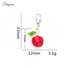 33*12mm Fashion Floating Locket Charms Enamel Fruit Charms Cherry Charms Pendant with Silver Lobster Clasp Jewelry Findings