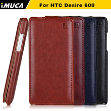 for htc desire 600 case flip leather cover For HTC Desire 600 dual sim 606 606W imuca case mobile phone bag with retail package(China)