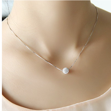 S925 Pure Silver Necklace Female Short Design Crystalball Chain Elegant Brief Anti-Allergic 30(China)