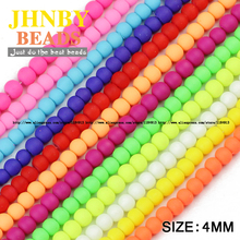 JHNBY Rubber Glass Beads 200PCS 4mm Candy Color Neon Matte Round Ball High quality Loose beads for jewelry making bracelet DIY()