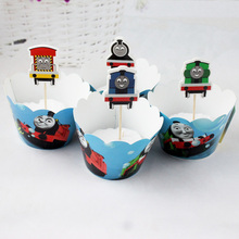 New 24pcs Cool Thomas Train hello kitty Minions Cupcake Wrapper and Topper for Kids Birthday wedding Event Party cake Decoration