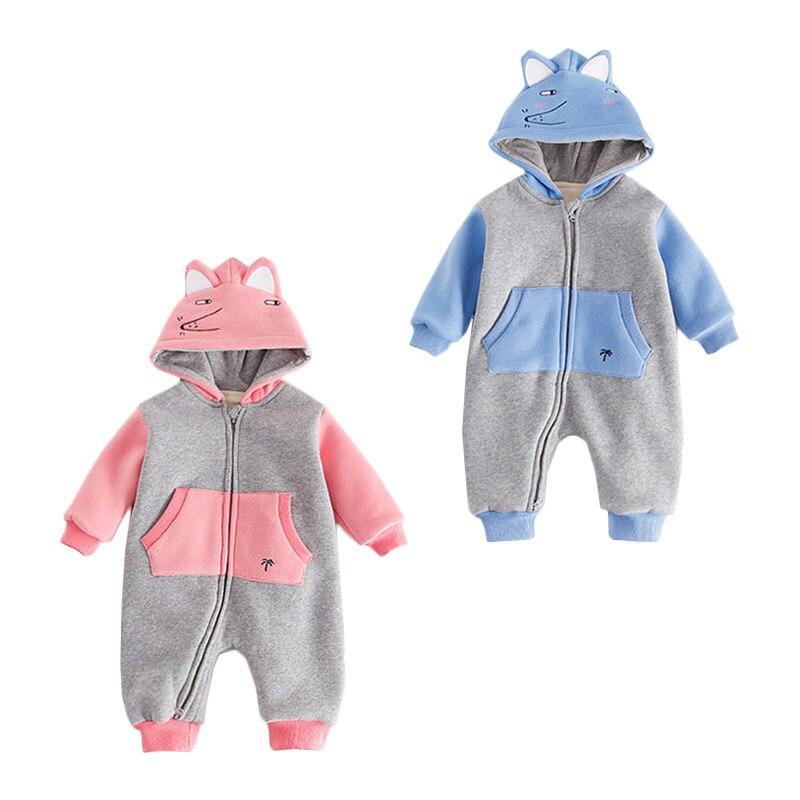 Winter Fleece Baby Overalls Boy Girl Rompers Cartoon Elephant Long Sleeve Kids Infant Clothing Ropa Infantis Meninas Meninos<br>