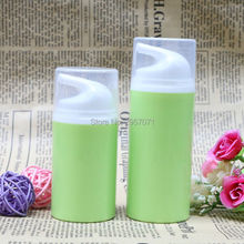 Green Empty Airless Pump Plastic Bottles 50ml 80ml Emulsion Bottle Lotion On Travelling Cosmetic Packaging 10pcs/lot Free Ship(China)