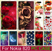 Colorful Flower Rose Tulip Butterly Pattern Case For Nokia Lumia 820 N820 Hard Phone Case Back Cover Shell Capa Free Shipping