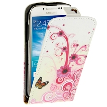 For Samsung Galaxy S4 mini Case Butterfly and Daisy Pattern Vertical Leather Case for Samsung Galaxy S 4 mini / i9190