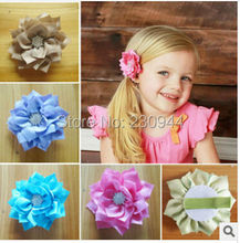Children Hair Accessories classics double pointed lotus flowers 8 cm + children total package side hair clips 50pcs/lot