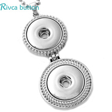 P00698 Snap Button Jewelry Pendant Necklace With Charm Stainless Steel Chain Necklace Fit 18mm Rivca Snap Necklace Jewelry Women