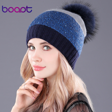 [boapt] sequins double-deck rabbit knited thick winter hats headgear for women's caps raccoon fur pompon cap female hat beanies(China)