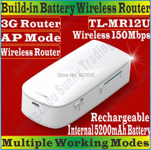 ChineseFirmware TP-LINK TL-MR12U Portable 5200mAh Battery Powered 3G + 150Mbps Home/Travel/ Beach WIFI Router TL MR12U 3G Router