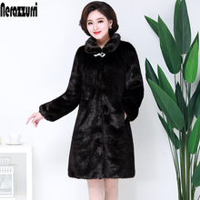 Nerazzurri Faux Mink Fur Coat Women Winter 2017 New Fake Fur Coats For Women Long Artificial Fur Imitation Fur Jackets Plus Size(China)