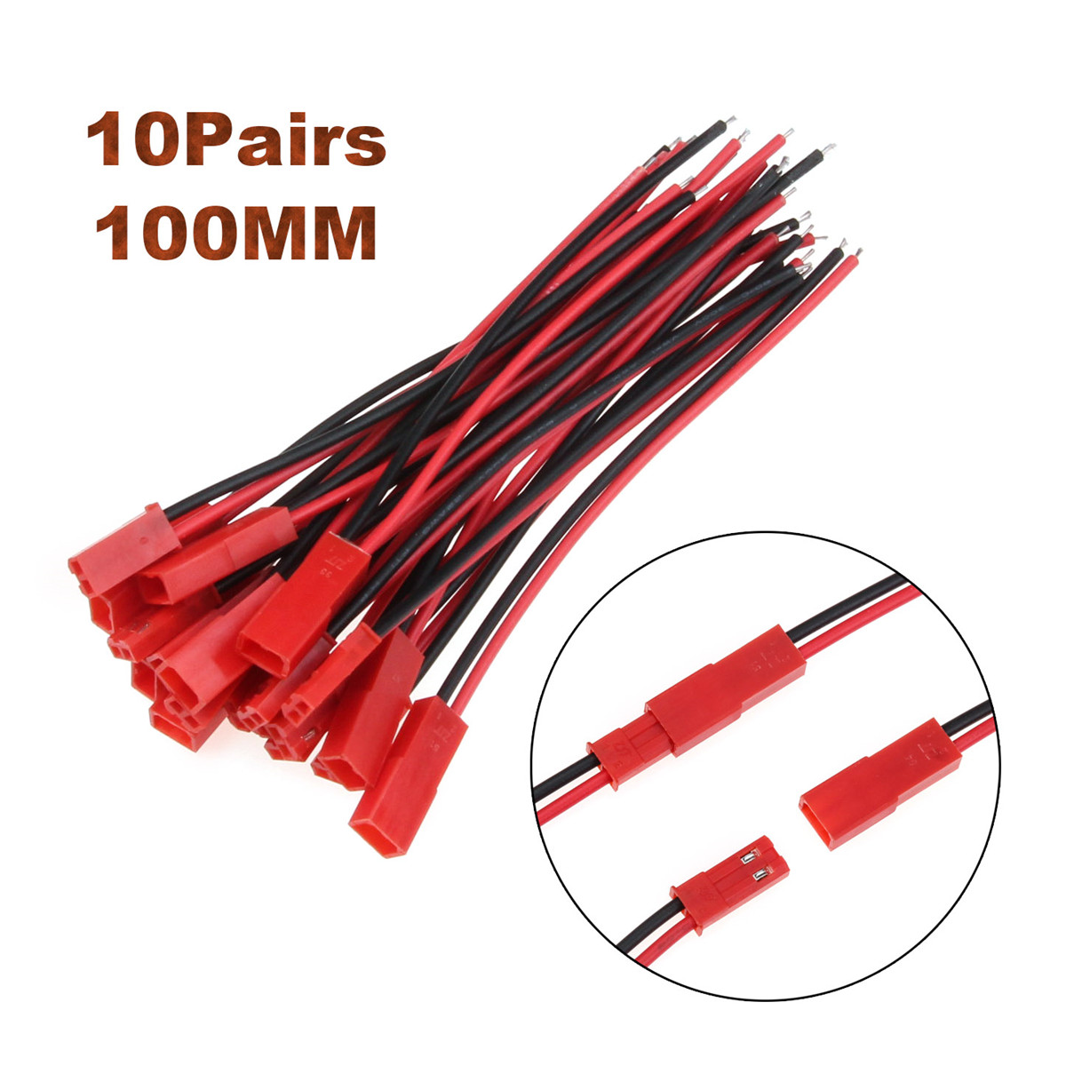 10 Pair 100mm JST CONNECTOR Male+Female PLUG Cable Cord for RC BEC LIPO BATTERY