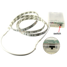 3528 3* AA Battery powered led strip 1m/2m/3m/4m/5m flexible light ribbon tape TV computer laptop RGB + controller Warm white(China)