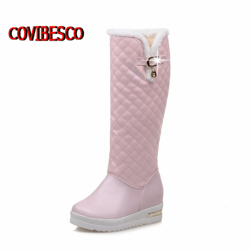New Cotton fashion waterproof snow boots womens knee high boots wedges heels autumn winter boots platforms fur warm shoes <br><br>Aliexpress