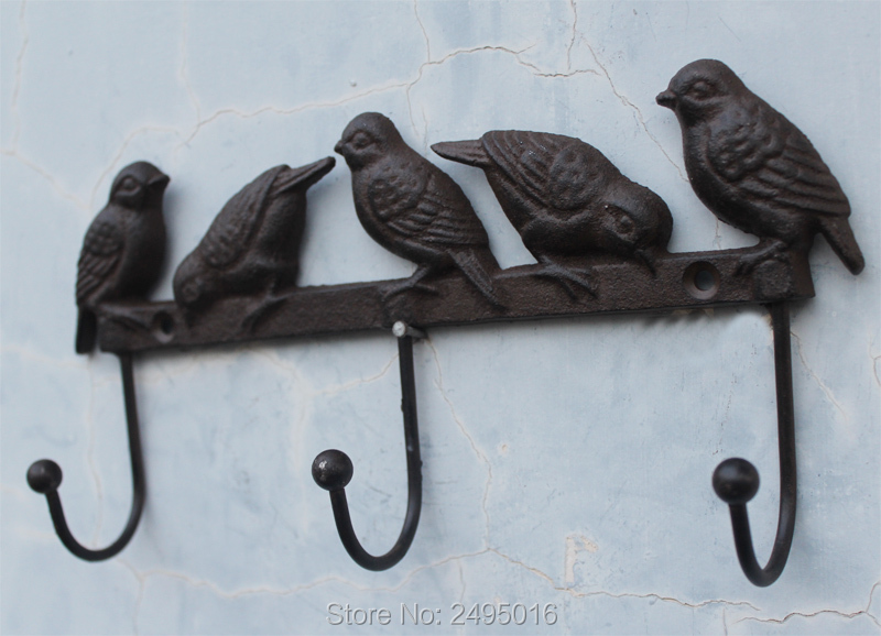 Cast Iron Birds On Branch Hanger With 3 Hooks - Decorative Cast Iron Wall Hook Rack For Coats, Hats, Keys, Towels,Clothes<br>