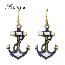 FANHUA Summer Wind Dangle Anchor Earrings Blue White Enamel Drop Earrings Women Jewelry Fashion Brincos