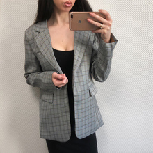 Buy BGTEEVER Work Jacket Women Gray Plaid Office Lady Blazer Jacket Fashion Notched Collar Elegant Work Blazers Feminino for $24.63 in AliExpress store