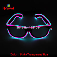 Double Colors Sound Activated EL wire Led Glasses Lighting Colorful Glowing Glasses Luminous glasses For Party Decoration Gifts(China)