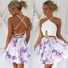 2016 Fashion New A-line Printed MINI Dress Off Shoulder cut out summer style dress Halter Backless Feminino Vestidos YZ#2301